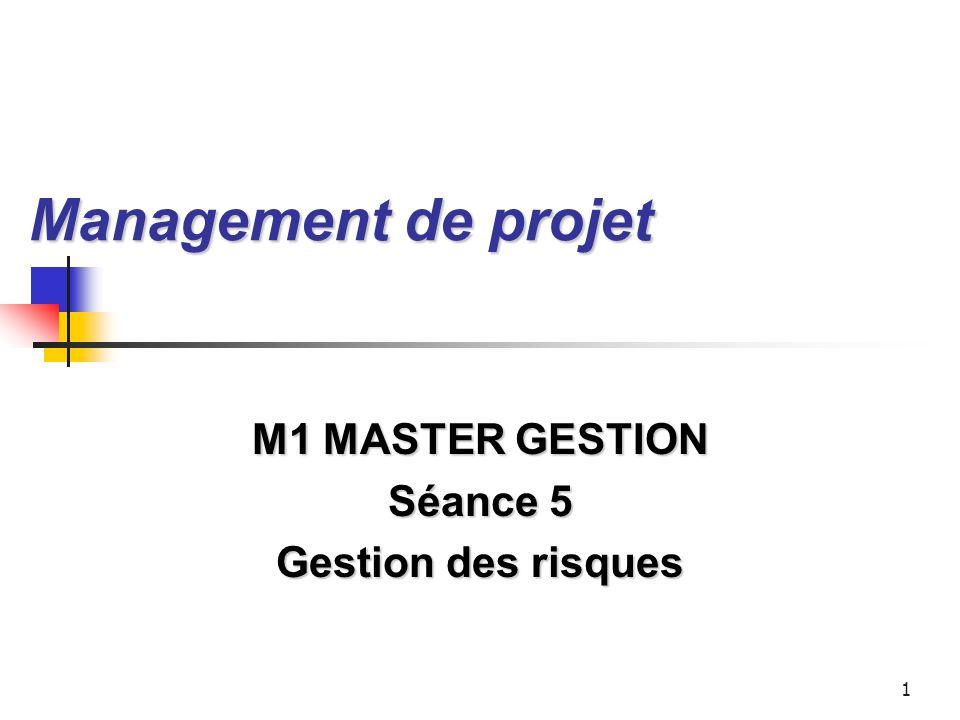 M1 MASTER GESTION Séance 5 Gestion des risques