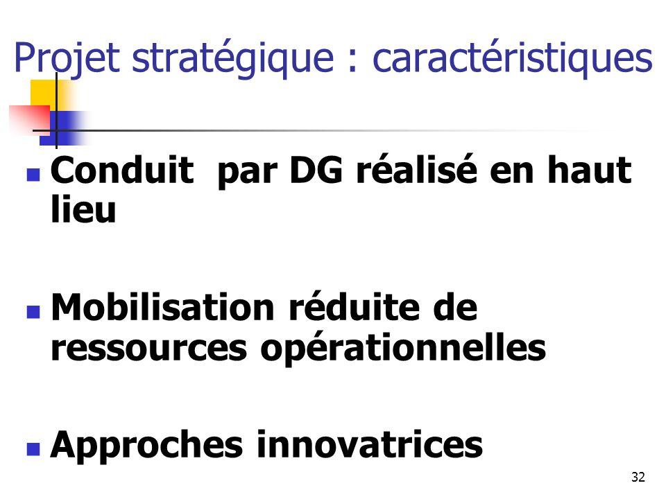 Projet stratégique : caractéristiques