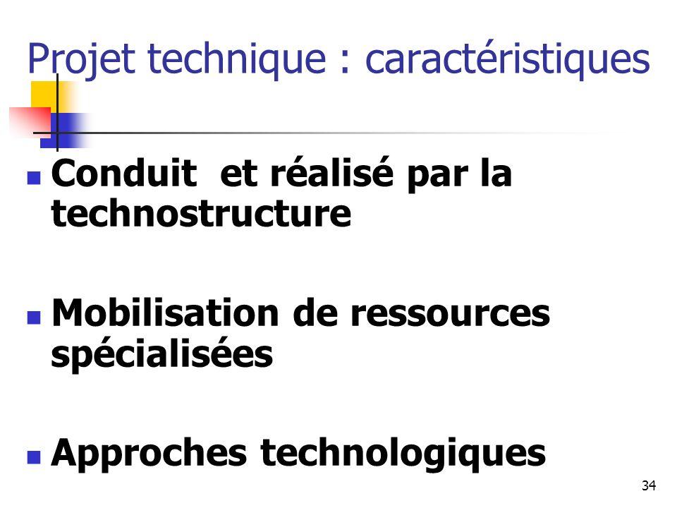 Projet technique : caractéristiques