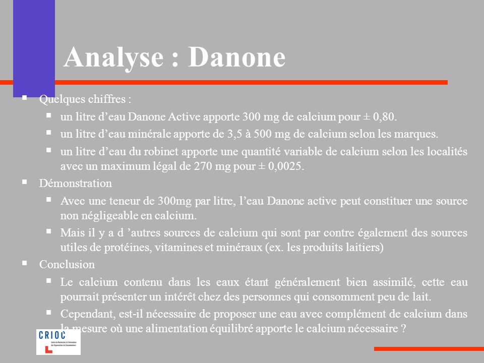 Analyse : Danone Quelques chiffres :