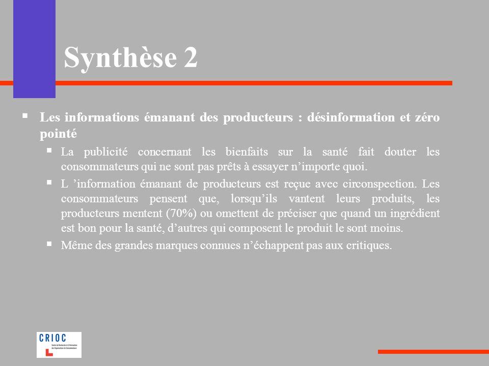 Synthèse 2 Les informations émanant des producteurs : désinformation et zéro pointé.