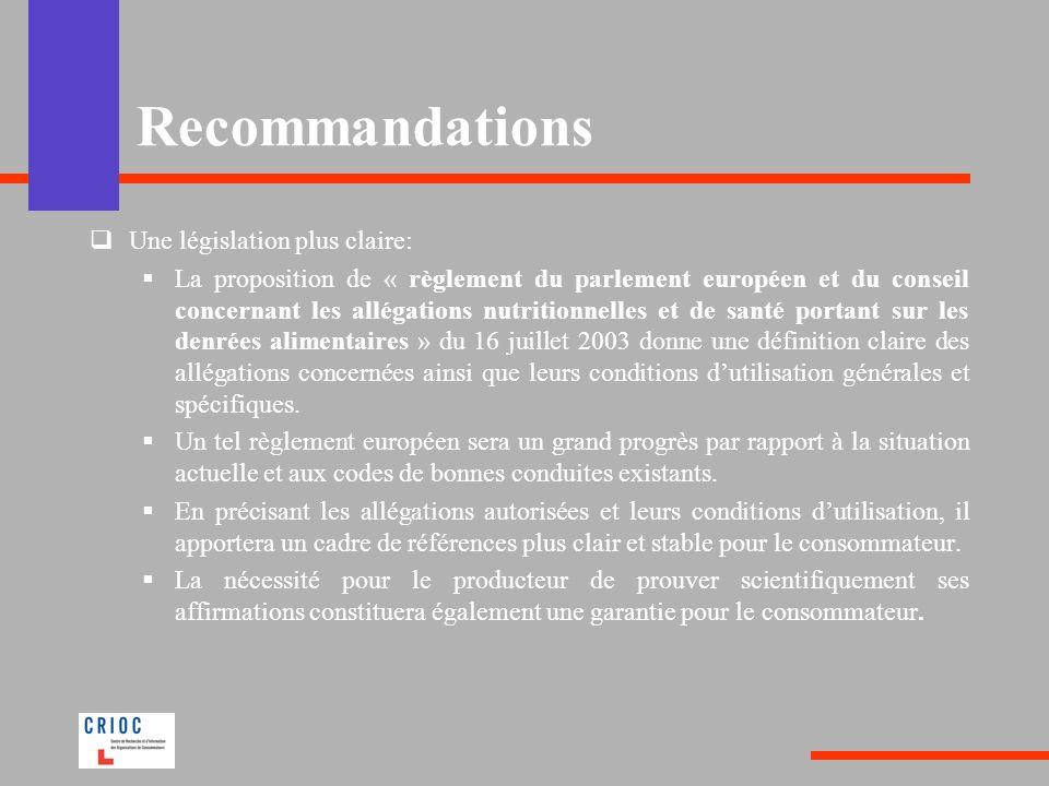 Recommandations Une législation plus claire: