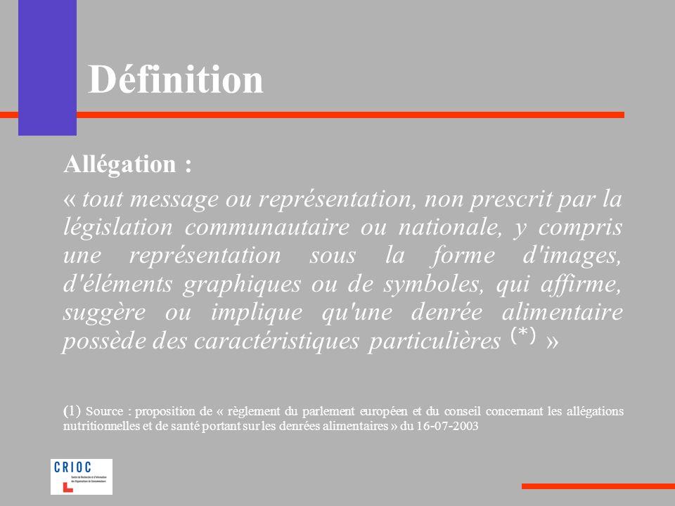 Définition Allégation :
