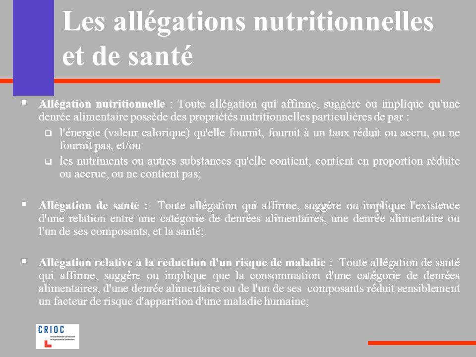 Les allégations nutritionnelles et de santé