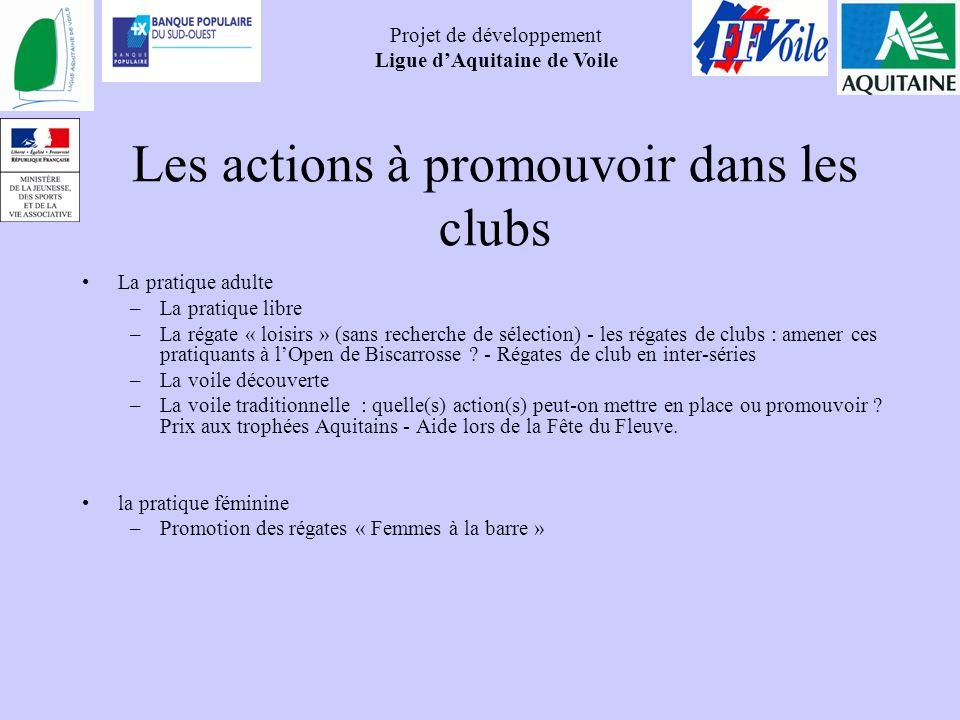 Les actions à promouvoir dans les clubs