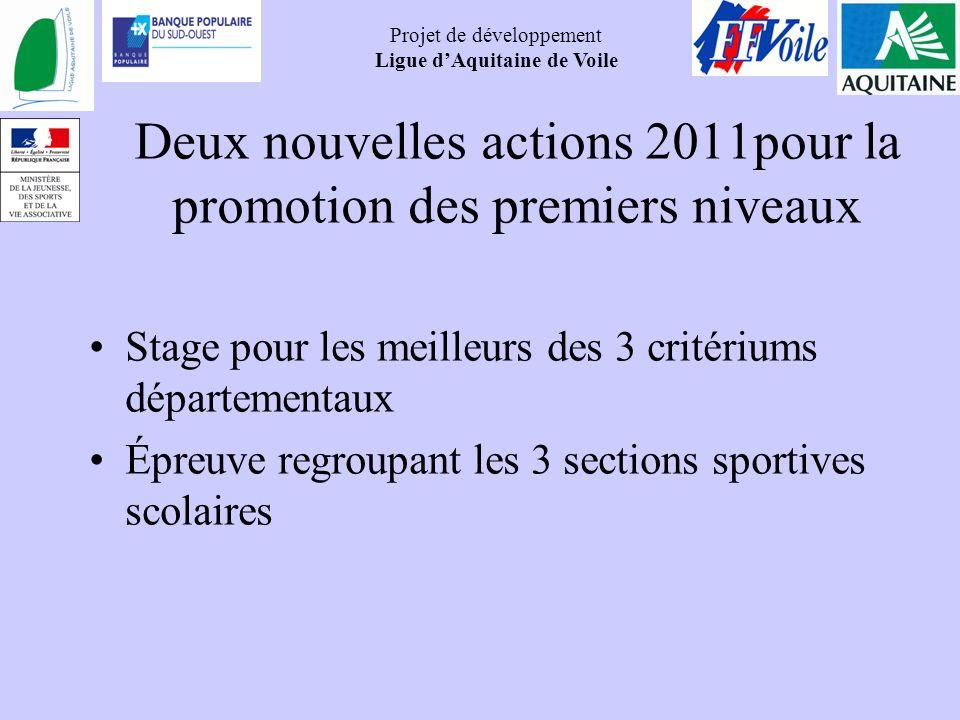 Deux nouvelles actions 2011pour la promotion des premiers niveaux