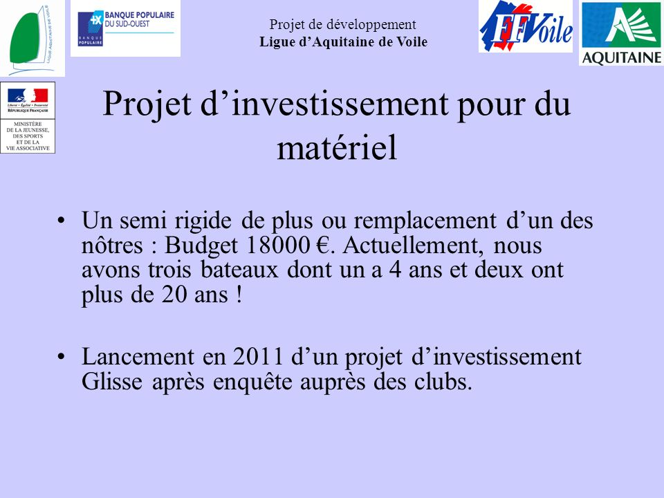 Projet d'investissement pour du matériel