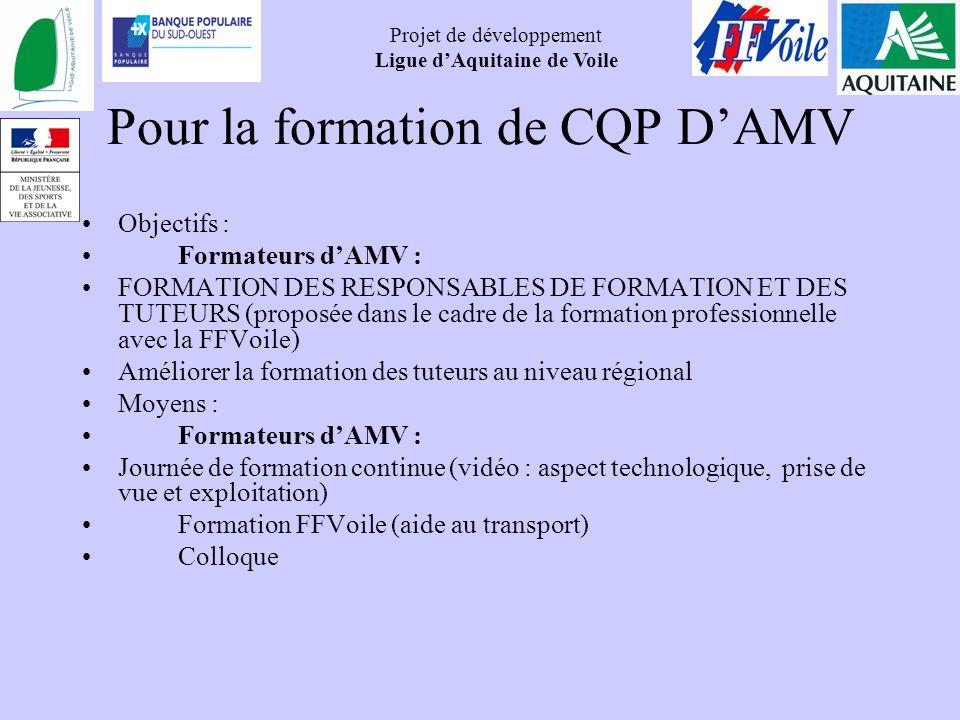 Pour la formation de CQP D'AMV