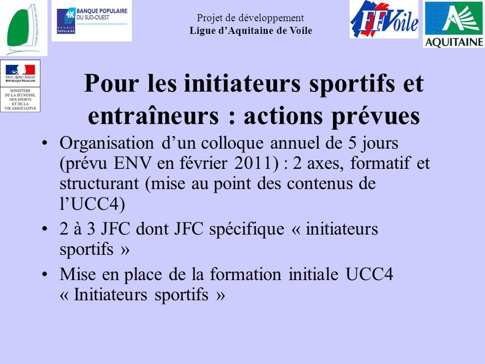 Pour les initiateurs sportifs et entraîneurs : actions prévues
