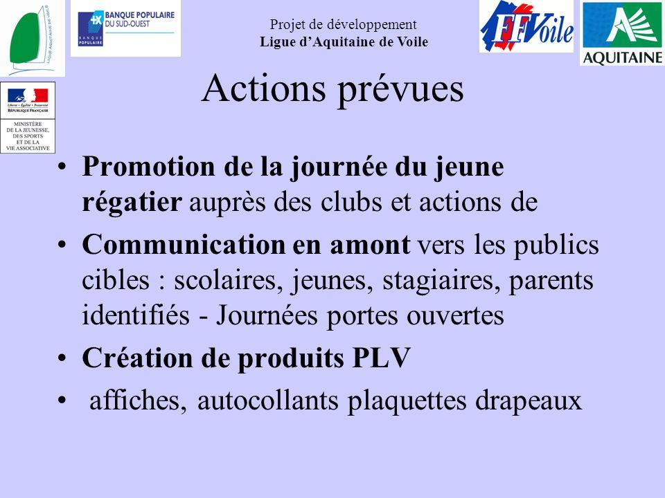 Actions prévues Promotion de la journée du jeune régatier auprès des clubs et actions de.