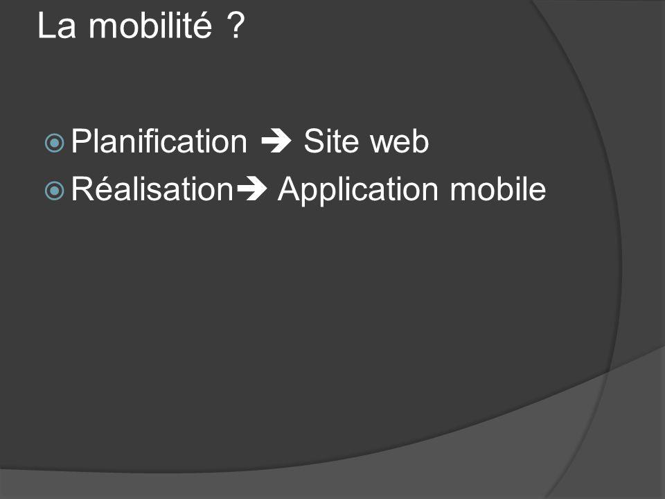 La mobilité Planification  Site web Réalisation Application mobile