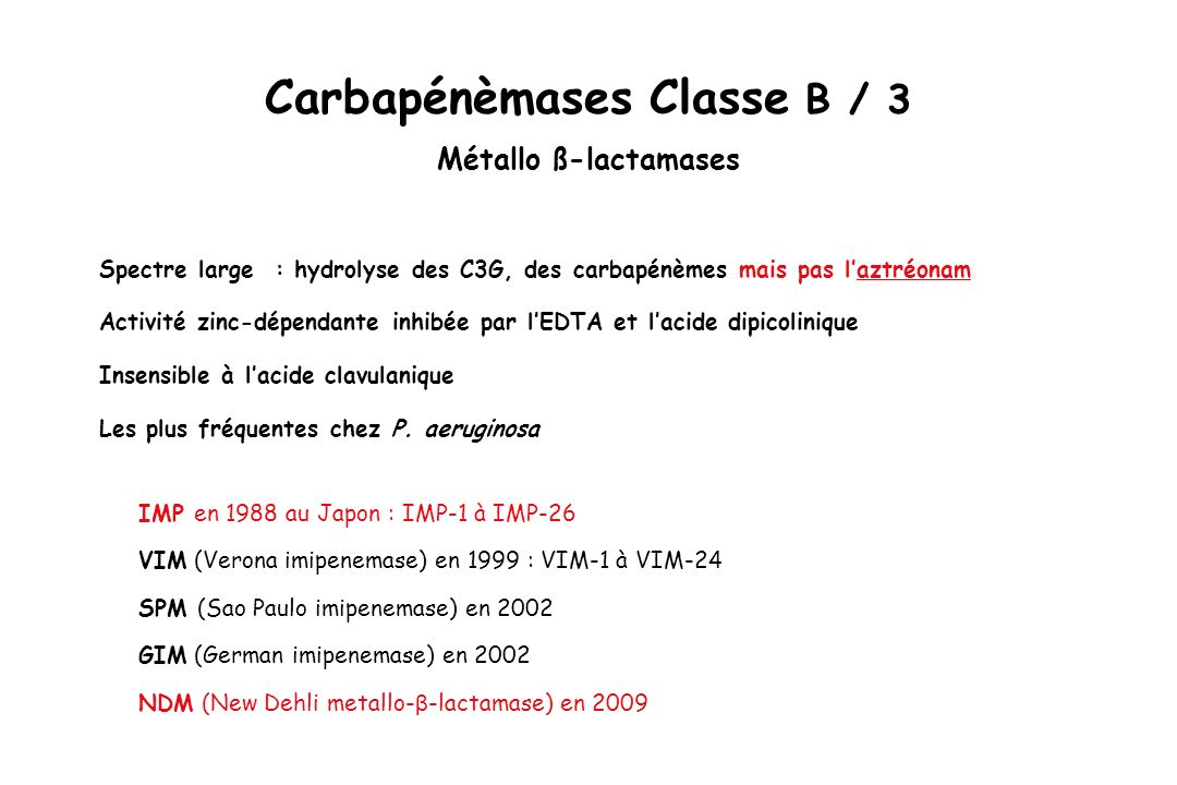 Carbapénèmases Classe B / 3 Métallo ß-lactamases