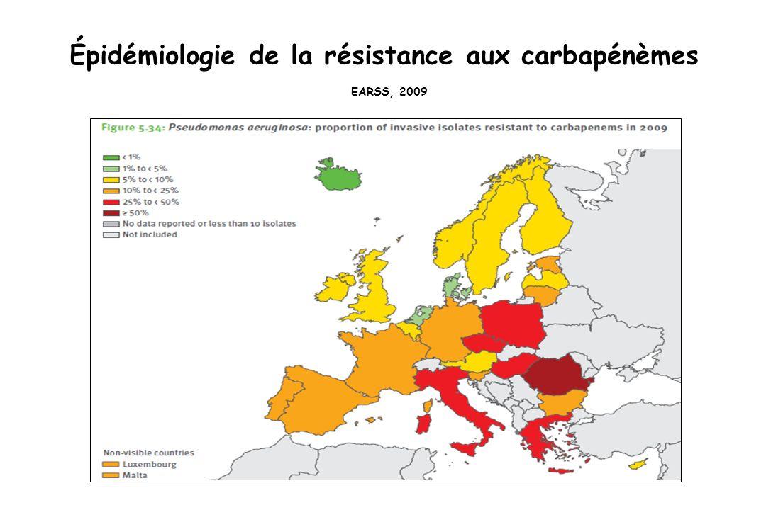 Épidémiologie de la résistance aux carbapénèmes EARSS, 2009