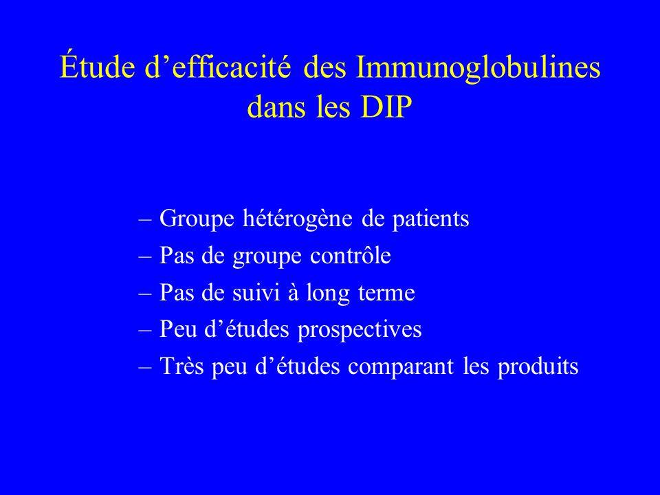 Étude d'efficacité des Immunoglobulines dans les DIP