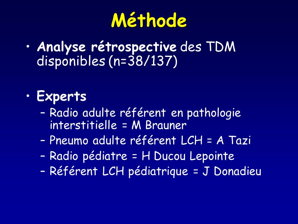 Méthode Analyse rétrospective des TDM disponibles (n=38/137) Experts