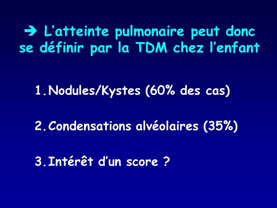  L'atteinte pulmonaire peut donc se définir par la TDM chez l'enfant
