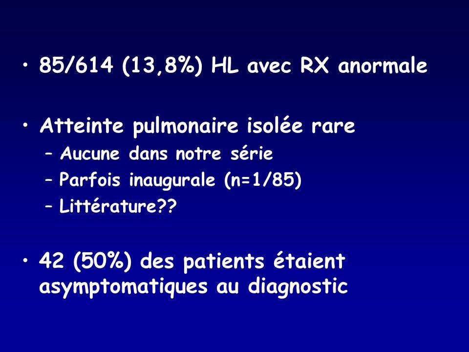 85/614 (13,8%) HL avec RX anormale Atteinte pulmonaire isolée rare