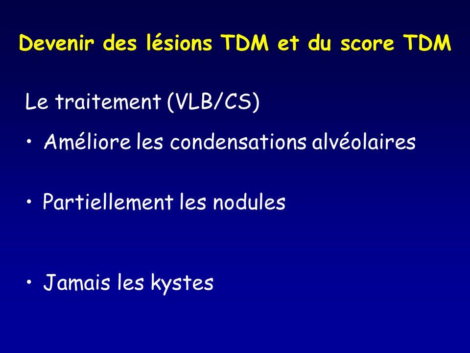 Devenir des lésions TDM et du score TDM