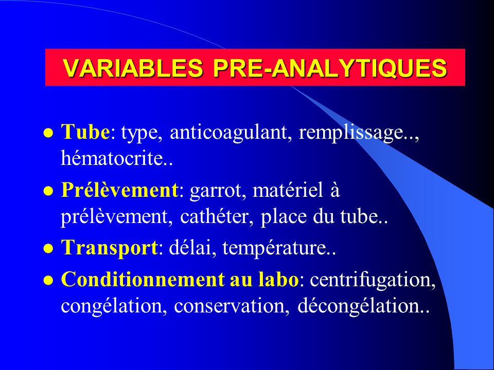 VARIABLES PRE-ANALYTIQUES