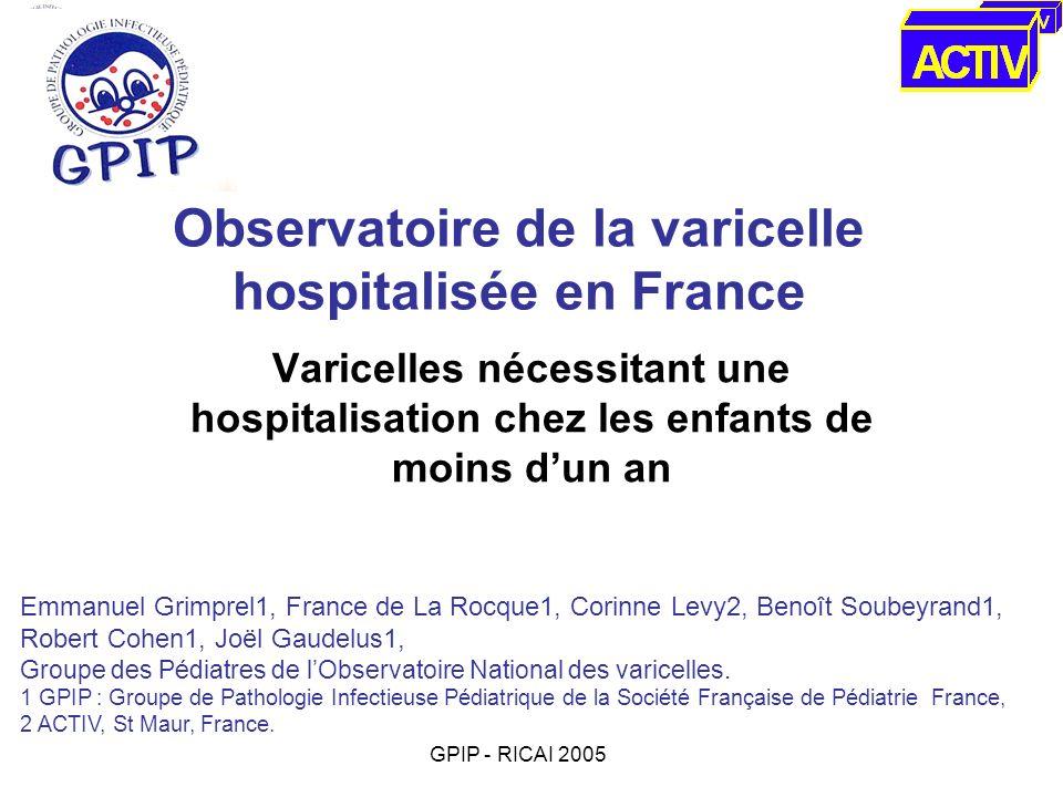 Observatoire de la varicelle hospitalisée en France