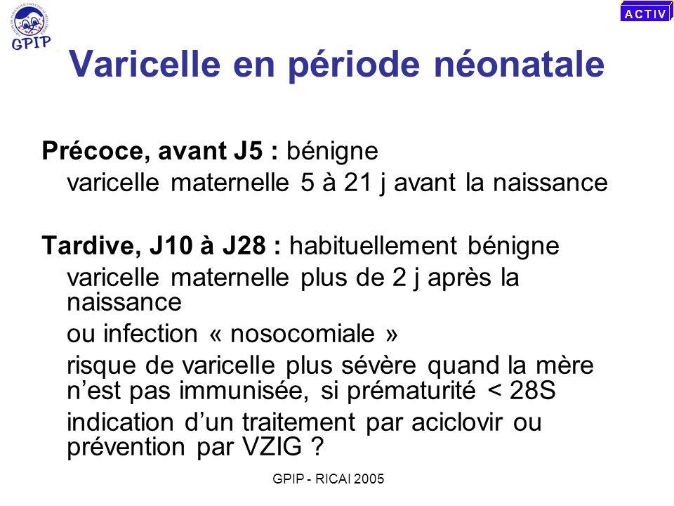 Varicelle en période néonatale