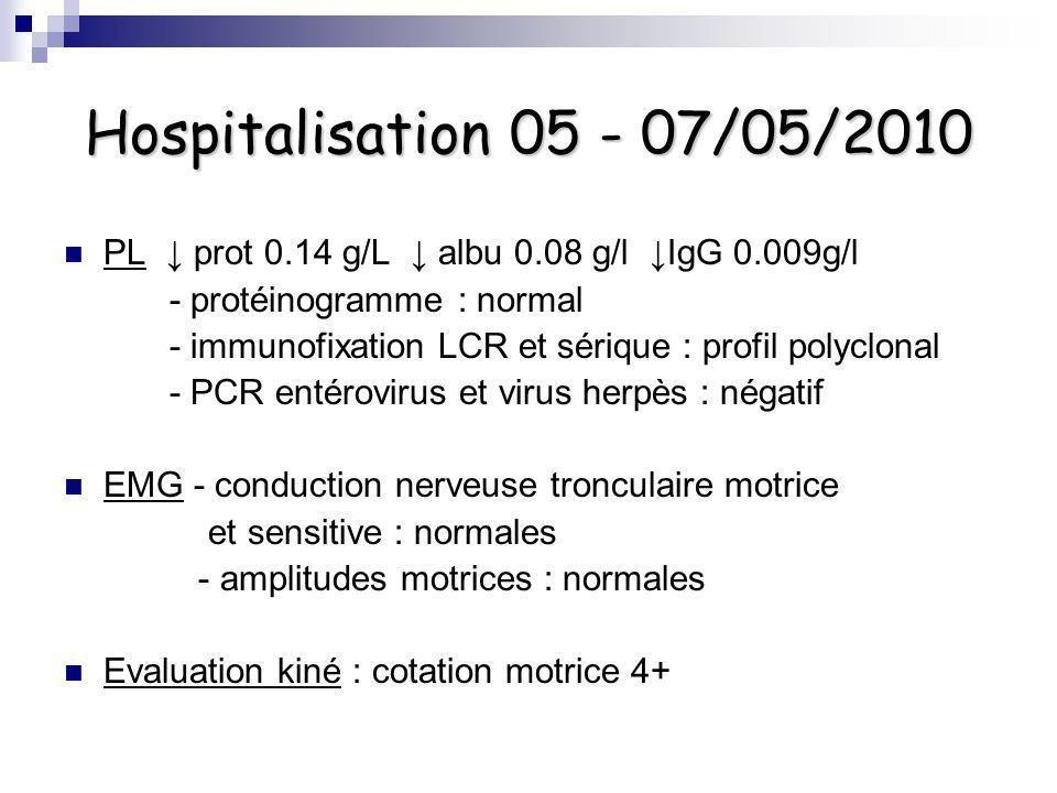 Hospitalisation 05 - 07/05/2010 PL ↓ prot 0.14 g/L ↓ albu 0.08 g/l ↓IgG 0.009g/l. - protéinogramme : normal.