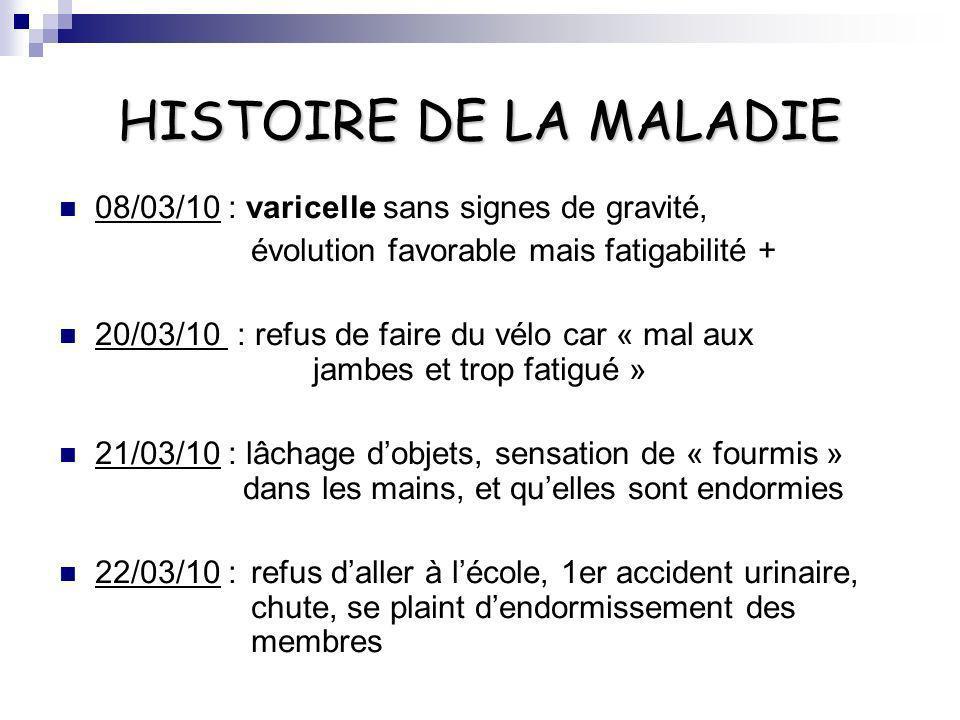 HISTOIRE DE LA MALADIE 08/03/10 : varicelle sans signes de gravité,