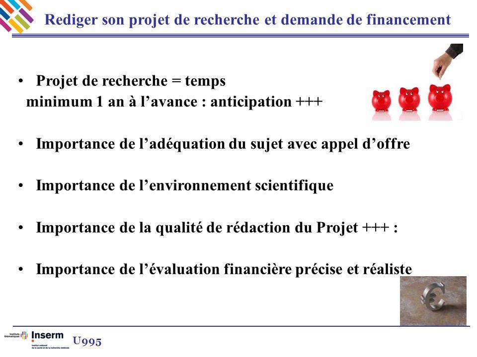 Rediger son projet de recherche et demande de financement