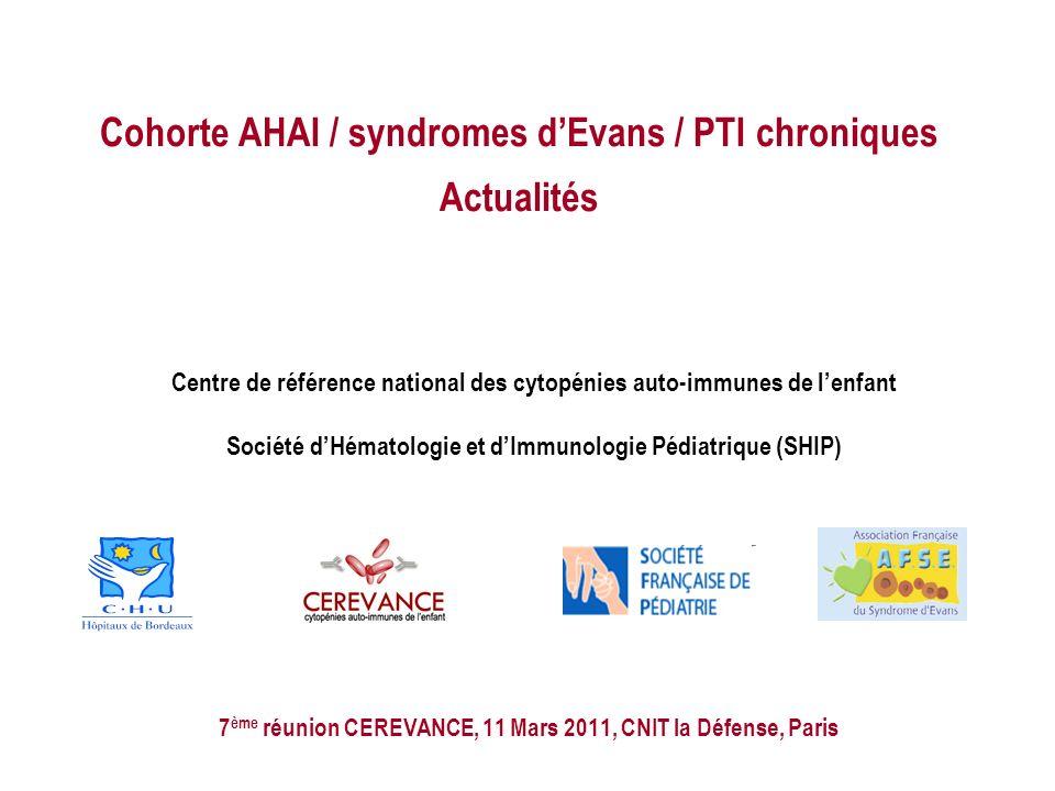 Cohorte AHAI / syndromes d'Evans / PTI chroniques Actualités