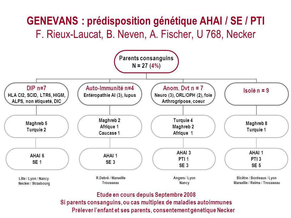 GENEVANS : prédisposition génétique AHAI / SE / PTI F. Rieux-Laucat, B