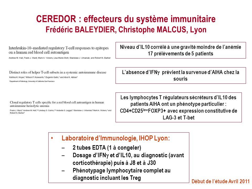 CEREDOR : effecteurs du système immunitaire Frédéric BALEYDIER, Christophe MALCUS, Lyon