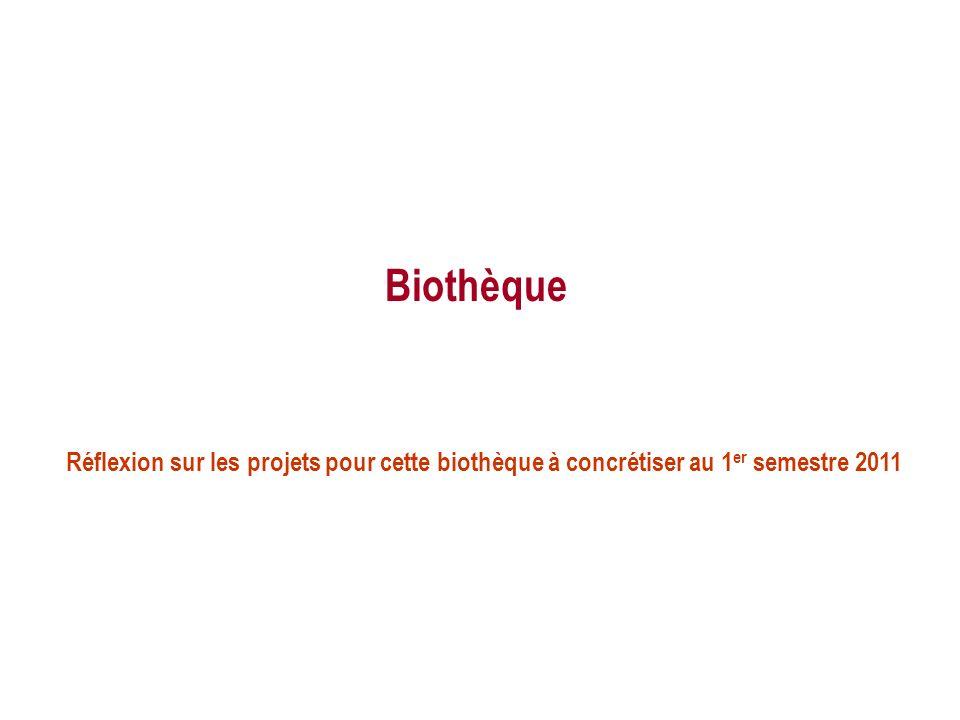 Biothèque Réflexion sur les projets pour cette biothèque à concrétiser au 1er semestre 2011