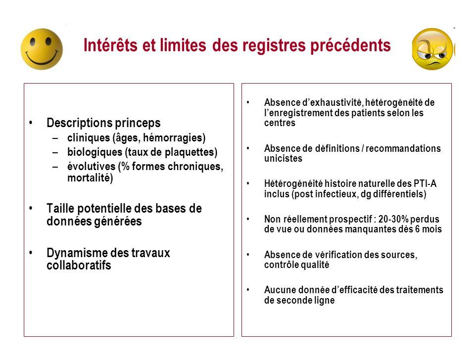 Intérêts et limites des registres précédents