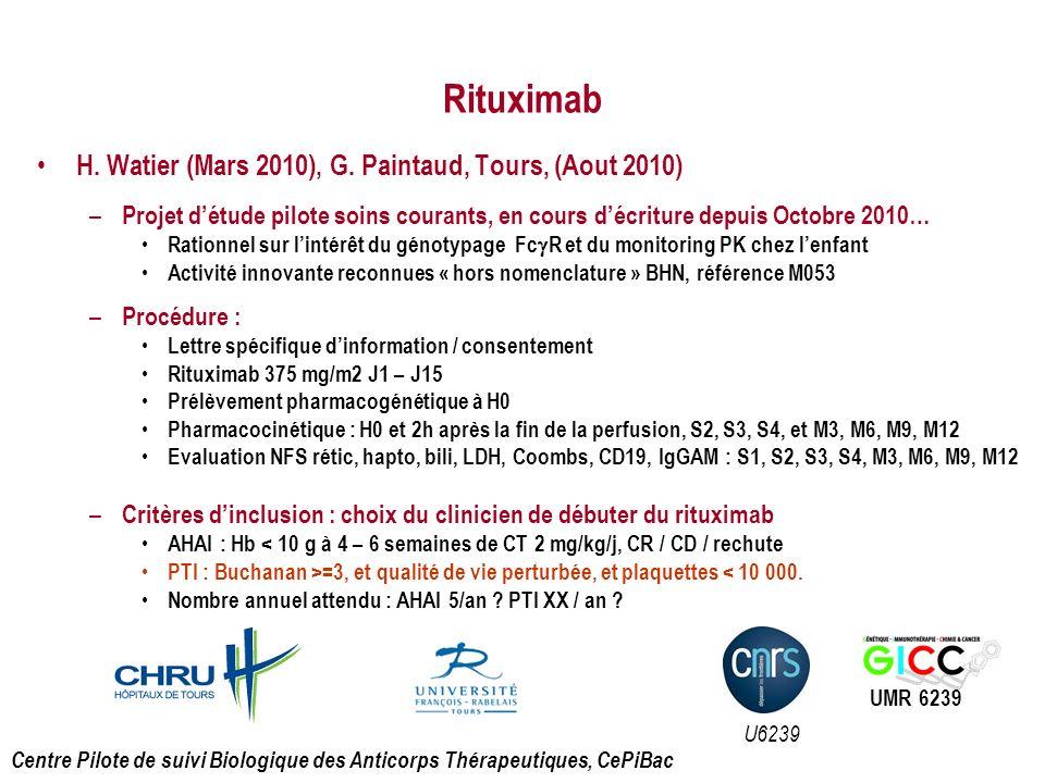 Rituximab H. Watier (Mars 2010), G. Paintaud, Tours, (Aout 2010)