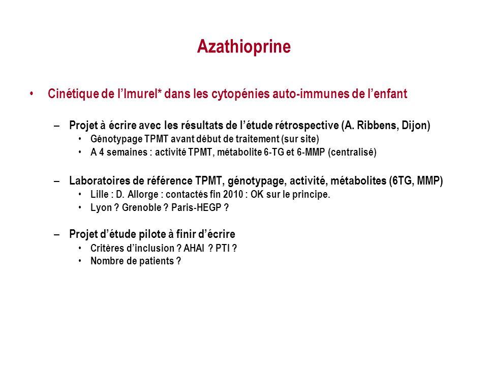 Azathioprine Cinétique de l'Imurel* dans les cytopénies auto-immunes de l'enfant.