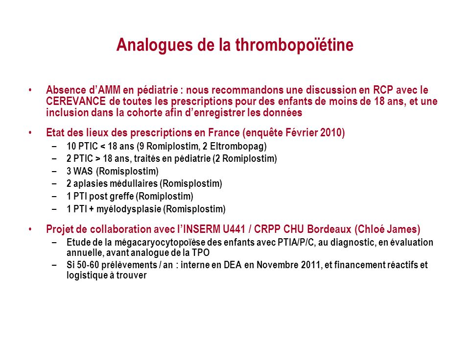 Analogues de la thrombopoïétine
