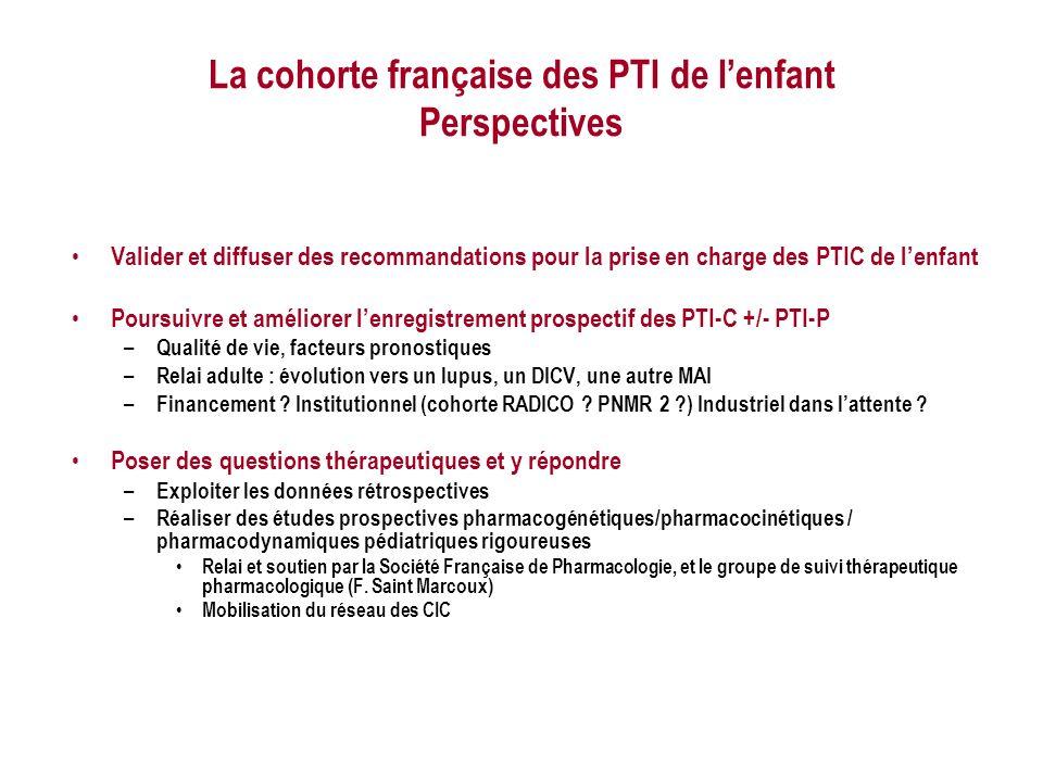 La cohorte française des PTI de l'enfant Perspectives