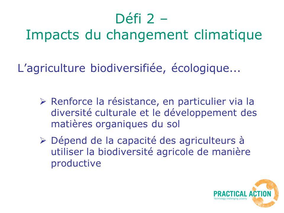 Défi 2 – Impacts du changement climatique