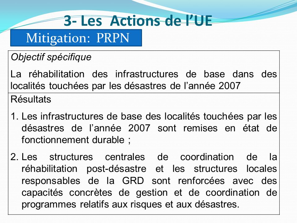 3- Les Actions de l'UE Mitigation: PRPN Objectif spécifique