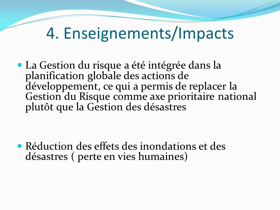4. Enseignements/Impacts