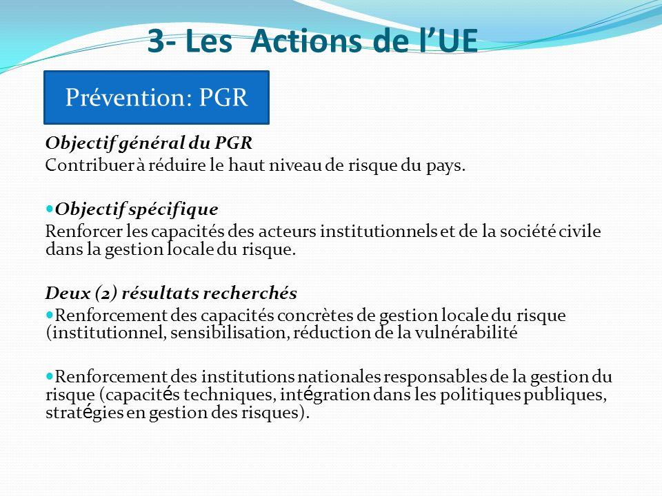3- Les Actions de l'UE Prévention: PGR Objectif général du PGR