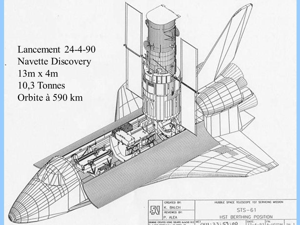 Lancement 24-4-90 Navette Discovery 13m x 4m 10,3 Tonnes Orbite à 590 km hst shuttle