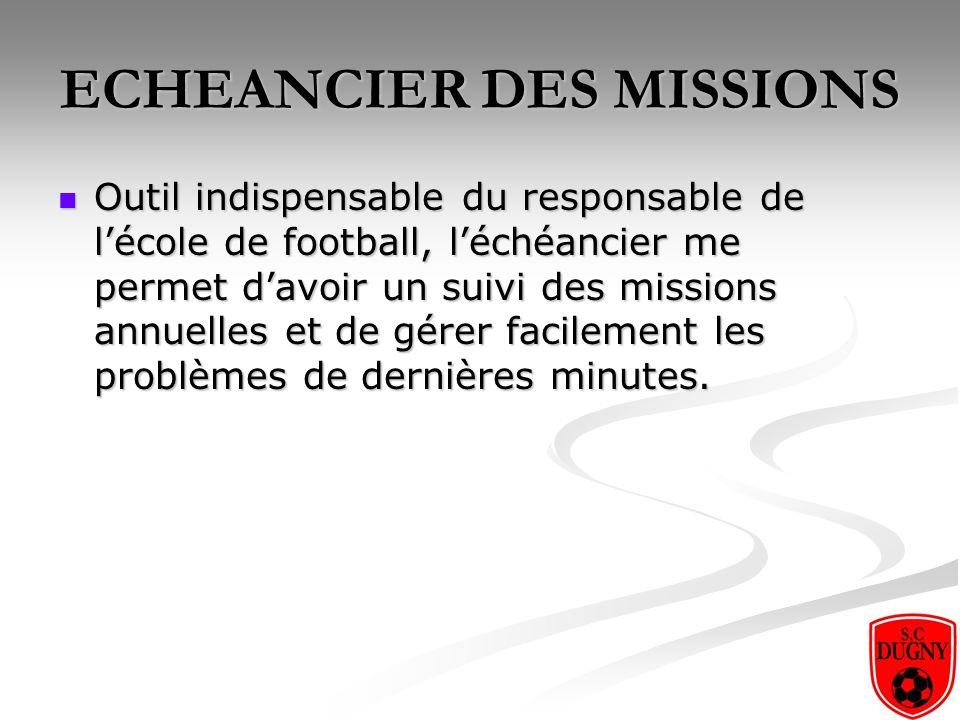 ECHEANCIER DES MISSIONS