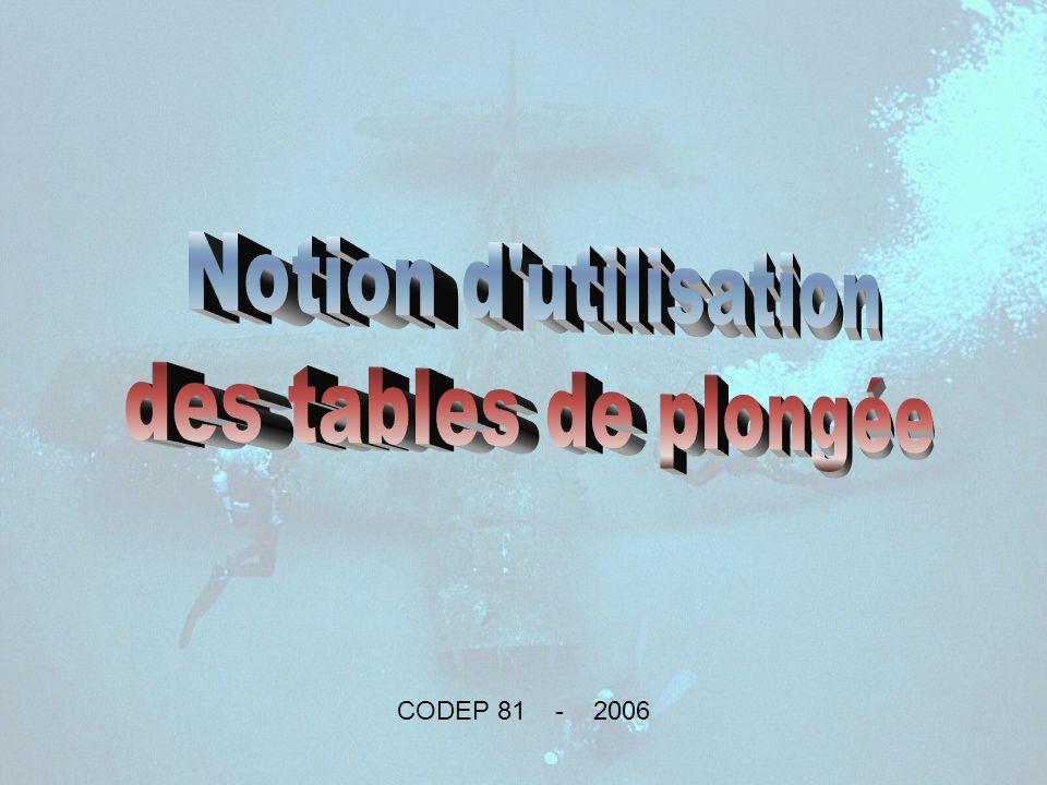 Notion d utilisation des tables de plongée CODEP 81 - 2006