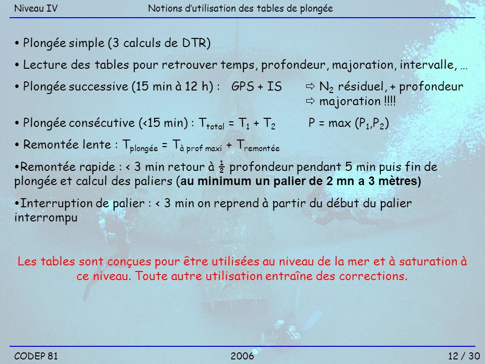  Plongée simple (3 calculs de DTR)
