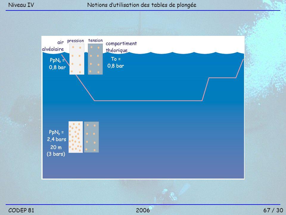 Niveau IV Notions d'utilisation des tables de plongée CODEP 81 2006 67 / 30