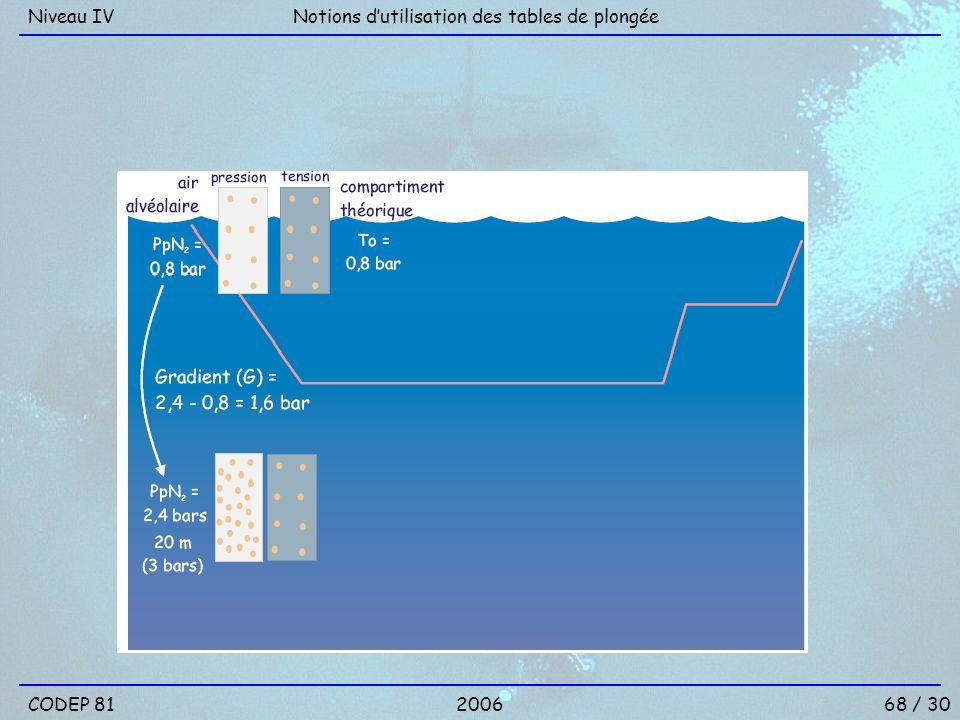 Niveau IV Notions d'utilisation des tables de plongée CODEP 81 2006 68 / 30