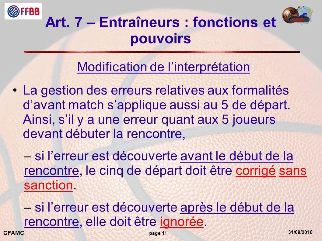Art. 7 – Entraîneurs : fonctions et pouvoirs