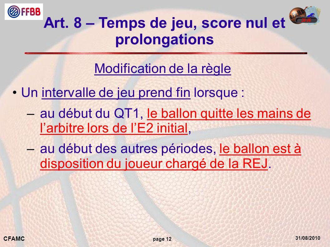 Art. 8 – Temps de jeu, score nul et prolongations