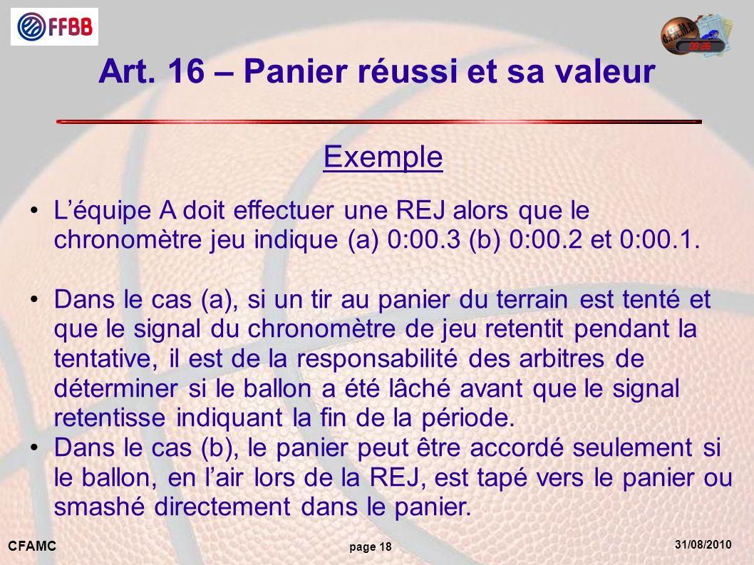 Art. 16 – Panier réussi et sa valeur